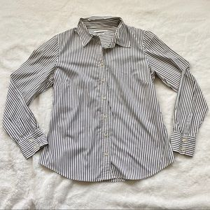 EUC White and Gray Striped Button Down Shirt